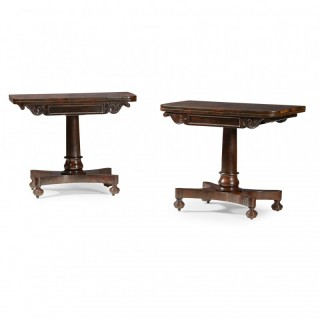 Pair of Scottish Regency Rosewood Card Tables