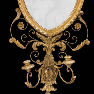 A pair of George III Period Gesso and Giltwood Mirrors
