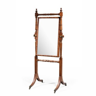 George III Period Mahogany Cheval Mirror