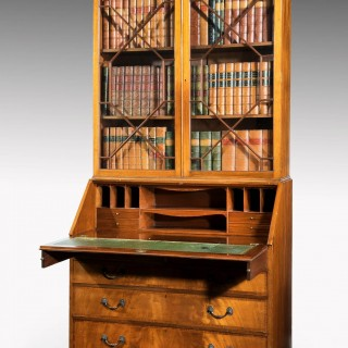 George III Period Mahogany Bureau Bookcase with Finely Matched Timbers