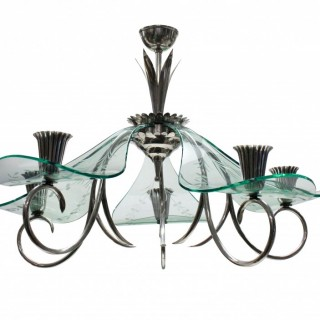 AN UNUSUAL ITALIAN CHANDELIER IN SILVER & GLASS
