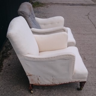 Two Bridgewater Easy Armchairs Made By Howard And Sons Of London