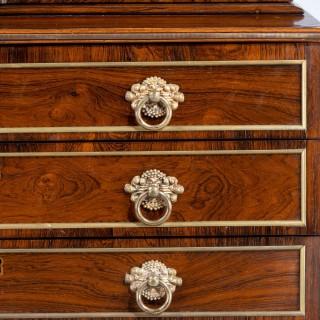 Regency Period Rosewood Three Drawer Bookcase