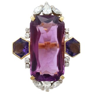 21.82 ct Amethyst and 1.59 ct Diamond, 18 ct Yellow Gold Dress Ring - Vintage Circa 1970