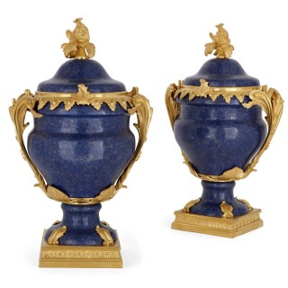 Pair of lapis and gilt bronze krater vases