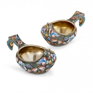 Antique pair of silver-gilt and enamel Kovshes by Semenova
