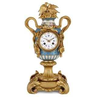 Sèvres style ormolu mounted mantel clock by Kreisser