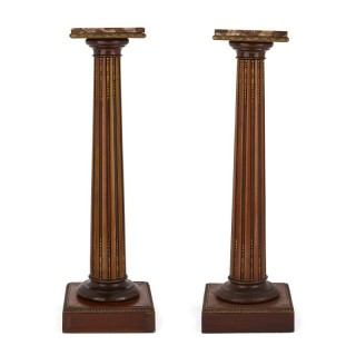 Two wood, marble, and gilt bronze columns