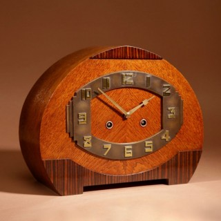 A Very Stylish Typical Art Deco Amsterdam School Oak and Macassar/Coromandel Ebony Mantel Clock.