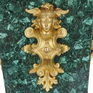 Neoclassical style malachite and gilt bronze standing clock