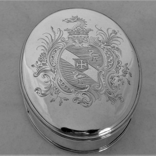 Fine armorial&crested George III silver tobacco box London 1768 William Plummer