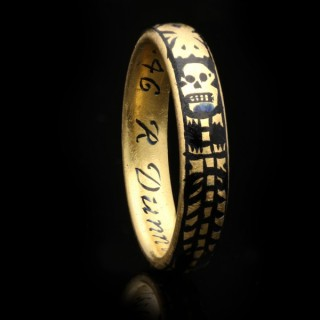 Georgian gold and enamel memorial skeleton ring, circa 1731
