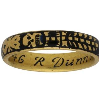 Georgian gold and enamel memorial skeleton ring, circa 1731