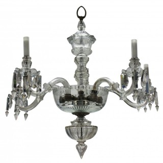 AN EDWARDIAN CUT GLASS CHANDELIER, FORMERLY A GASOLIER