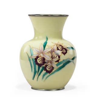Showa Period Pale Yellow Cloisonné Vase by Tamura