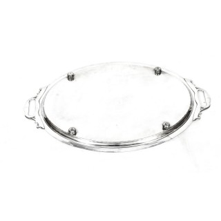 Antique Victorian Oval Silver Plated Twin Handled Tray 1879 19th Century