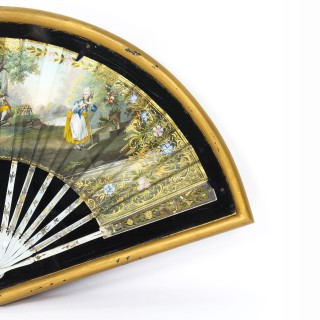 Antique French Framed Mother Pearl Hand-Painted Fan Late 18th Century