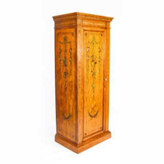 Antique English Victorian Satinwood Hand Painted Wardrobe C1880 19th Century