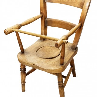 19th Century Ash & Beech Childs Commode Chair