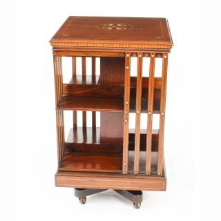 Antique Edwardian Inlaid Mahogany Square Revolving Bookcase C1900