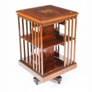Antique Edwardian Inlaid Mahogany Square Revolving Bookcase C1900