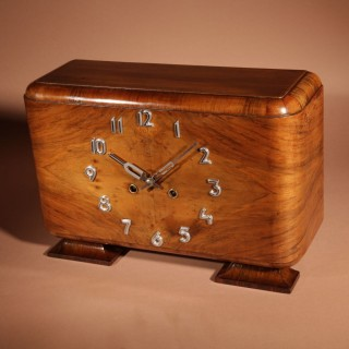 A Very Stylish German Walnut Art Deco Mantel Clock Signed and Dated.