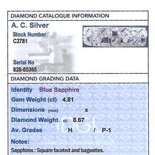 4.81ct Sapphire and 8.67ct Diamond, 18ct White Gold Bracelet - Art Deco - Antique Circa 1930
