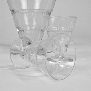 Lalique Vouvray Crystal Decanter and Six  Matching Liqueur Glasses