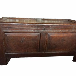 Oak Coffer With Initials 17th Century