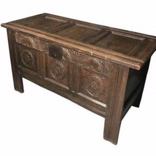 Small Oak Carved Coffer, United Kingdom 17th Century