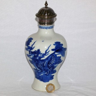 Kangxi blue and white baluster vase with silver lid and mounts