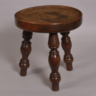 Antique 19th Century Oak Dished Top Stool