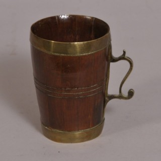 Antique Treen 19th Century Cedar Wood Staved Tankard
