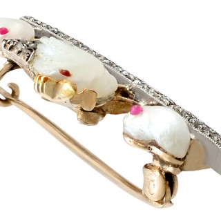 Natural Pearl and Ruby, 0.51ct Diamond and 9ct Yellow Gold Bird Brooch - Antique Victorian