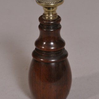 Antique Treen 19th Century Cherry Wood Wafer Signet