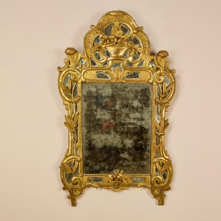 French Louis XV Rococo 18th Century Carved Giltwood Flower Basket Wall Mirror