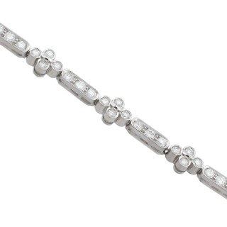 3.30 ct Diamond and 18 ct White Gold Bracelet - Vintage Circa 1990