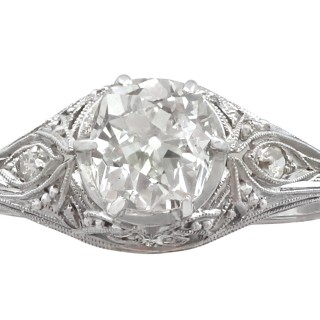 1.01 ct Diamond and Platinum Solitaire Ring - Vintage Circa 1940s