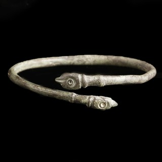 Roman Bronze Bangle with Snakes Finials