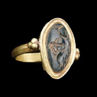 Roman Gold Ring With Jasper Intaglio