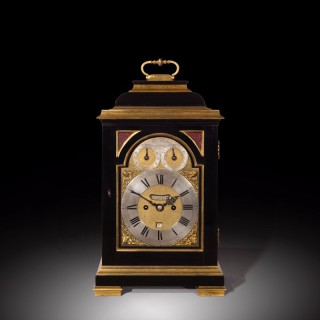 George III Ebony Veneered Bracket Clock with Pull Quarter Repeat on Six Bells