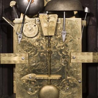 George III Ebony Veneered Bracket Clock with Pull Quarter Repeat on Six Bells