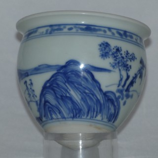 Transitional Blue and White Rare Conical Cup