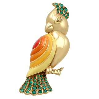 1.05ct Emerald and 0.35ct Sapphire, Enamel and 18ct Yellow Gold Bird Brooch by Boucheron