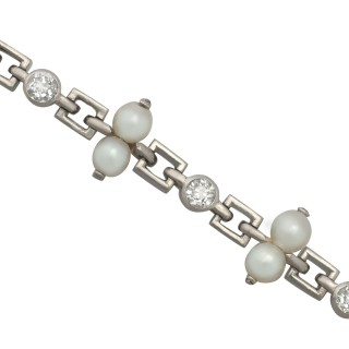 0.82 ct Diamond and Natural Pearl, Platinum Bracelet - Vintage Circa 1940