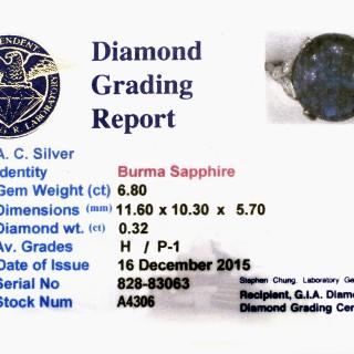 6.80 ct Sapphire and 0.32 ct Diamond, Platinum Dress Ring - Antique Circa 1930