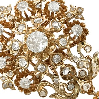3.04 ct Diamond and 19 ct Yellow Gold Brooch - Antique Austro-Hungarian Circa 1900