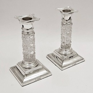 Antique Silver and Glass Candlesticks
