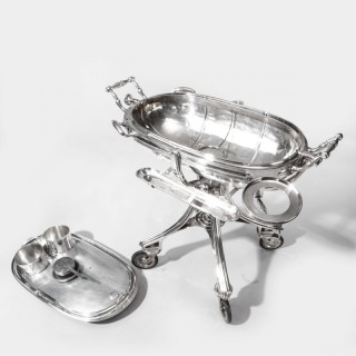 A large silver plate carving trolley or roast beef trolley by Erguis