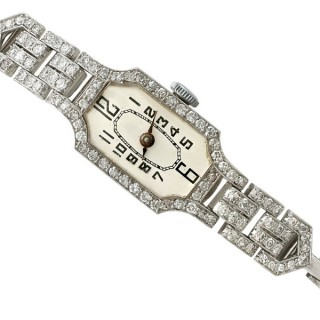 1.45ct Diamond and Platinum Ladies Cocktail Watch - Art Deco - Vintage Circa 1940